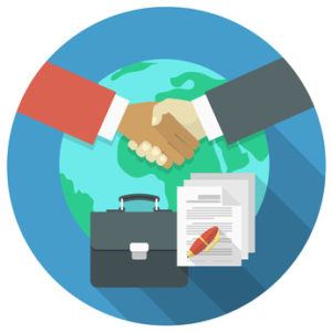 Modern flat conceptual illustration of international business cooperation and partnership. Businessmen's handshake on a background of globe and suitcase. Business concept or logo